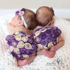 purple ruffle bloomer multi flower headband set by twosuesmn, $30.50