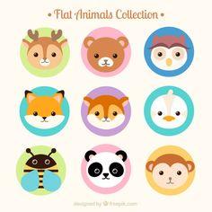 linda coleção de animais avatar plana Vetor grátis