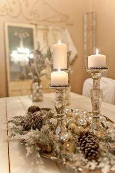 Pretty Centerpiece with Candles.Its all about the cool colors this year for some, but not for all. If you want warmth this is not the way, but good news for Mercury glass collectors, mercury is not going away just yet.