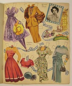Just gorgeous - Original Paper Dolls Elizabeth Taylor circa 1950 by Whitman