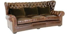 """Carmichael """"Designer Style"""" Leather Wingback Chesterfield Sofa: Carmichael """"Designer Style"""" Chesterfield Leather Tufted Couch"""