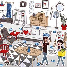 Ilustración para exposición en el Colegio de Arquitectos de Madrid con motivo del 20 Aniversario de IKEA en España