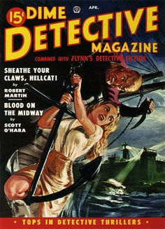 "Dime Detective Magazine 1950 April. Cover art by Norman ""Blaine"" Saunders."