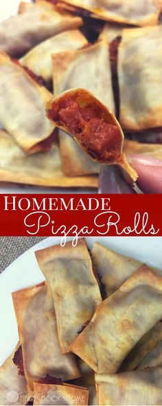 Homemade (Baked) Pizza Rolls http://hearthookhome.com/homemade-pizza-rolls/?utm_campaign=coschedule&utm_source=pinterest&utm_medium=Ashlea%20K%20-%20Heart%2C%20Hook%2C%20Home&utm_content=Homemade%20%28Baked%29%20Pizza%20Rolls