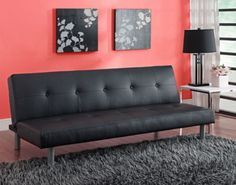 contemporary foldable futon living room furniture two seater faux leather black - Futon Living Room Set