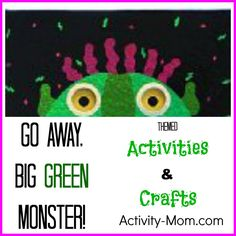 "Here are a bunch of great ""Go Away Big Green Monster!"" activities for your child based on the fantastic book by Ed Emberley. Outdoor Activities For Toddlers, Toddler Learning Activities, Preschool Literacy, Rainy Day Activities, Preschool Books, Halloween Activities, Preschool Ideas, Halloween Stories, Printables"