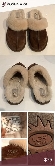 Ugg Slippers Brown mule slippers. Suede uppers with sheep skin fur interior and top. Man made sole. I wore these one season last winter. Just time to move on this year. I wear a 9 shoe but always a 10 in any style of Uggs. UGG Shoes Slippers