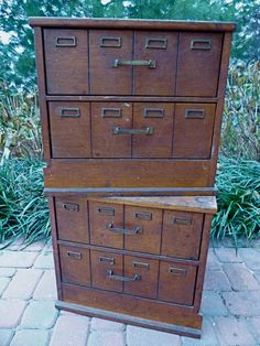 Antique Artists' File Cabinet Storage Boxes - Wooden Machinists Catalog Drawers - 2 Available. $225.00, via Etsy.