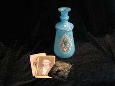 Victorian Enameled Bristol Glass Vase Sky Blue