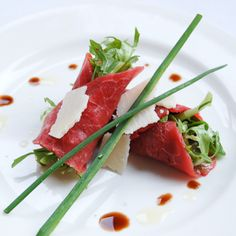 Beef Carpaccio w/ Parmesan & Dijon Vinaigrette. Nice and different way of serving!