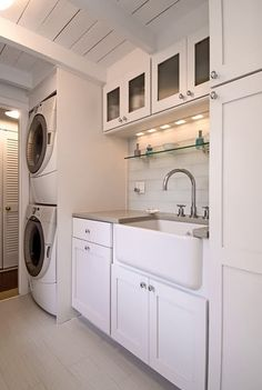 laundry room-stacked washer and dryer, counter, large farmhouse sink.what if we combine the vanity and the laundry in a creative way? Farmhouse Laundry Room, Laundry In Bathroom, Laundry Rooms, Basement Laundry, Bathroom Cabinets, Farmhouse Small, Garage Laundry, Wall Cabinets, Laundry Tips