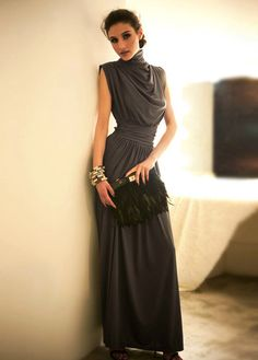 Elegant Sleeveless Turtleneck Back Slit Folding Design Dark Grey Cotton Maxi Dress | martofchina.com-Page Cached