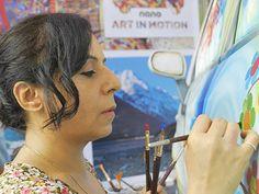 Sangeeta Babani paints the first Nano Art Car!