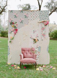 DIY shabby chic backdrop - use wallpaper scraps