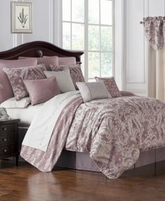 Comforter Sets Victoria Orchid Damask Pattern Comforter Set by Waterford Latest Bedding Waterford Bedding, Queen Comforter Sets, Bedding Sets, Victoria, Space Furniture, California King, Bedding Collections, Luxury Bedding, Houses