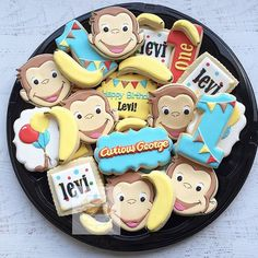 Curious George platter love these so much! Thanks to @cookiecutterkingdom we used there custom cookie cutter tool and designed George's face and banana cutters. They came out great! #curiousgeorge #customcookies #curiousgeorgeparty #curiousgorgecookies #natsweets #natsweets #sandiego #sandiegobakery