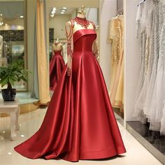 onlybridals Long Sleeve Prom Dresses High Neck Burgundy Long Prom Dress Satin Evening Dress - 2020 New Prom Dresses Fashion - Fashion Of The Year Long Sleeve Evening Dresses, Prom Dresses Long With Sleeves, Cheap Evening Dresses, Evening Gowns, Nice Dresses, Dress Long, Red Quinceanera Dresses, Mode Glamour, Princess Prom Dresses