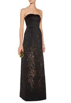 Marchesa Notte Black Strapless Floor Length Laser-Cut Ball Gown Dress, 6   $1305 #MarchesaNotte #BallGown #Cocktail