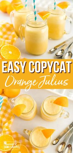 These copycat Orange Julius smoothies are so easy to make and don't make a big mess! For an added twist, try adding fresh strawberries, raspberries, and/or pineapple. #orangejulius #smoothie #orangesmoothie #oranges #copycatrecipes Summer Drink Recipes, Brunch Recipes, Breakfast Recipes, Brunch Ideas, Cocktail Recipes, Easy Family Meals, Family Recipes, Apple Recipes, Easy Recipes