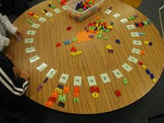 Lay out a complete alphabet with letter cards, then let kids sort letters to match. Use letter tiles from games, plastic/magnetic letters. This activity could also be done with an alphabet rug or foam squares. Kindergarten Centers, Preschool Literacy, Early Literacy, Kindergarten Reading, Kindergarten Classroom, Classroom Activities, Abc Centers, Beginning Of Kindergarten, Autism Activities