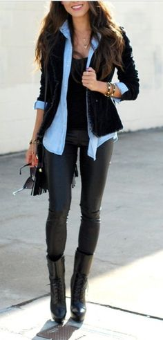 One of my faves, box blazer over a blue denim shirt....and leather leggings!