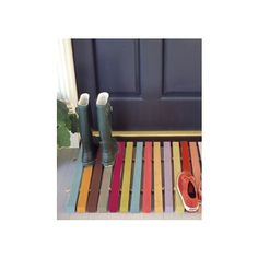 Colorful Striped Wooden Doormat
