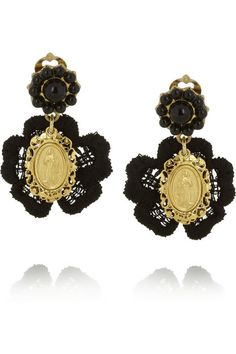 Dolce & Gabbana: V&A Gold-Plated, Resin and Macrame Clip Earrings