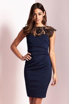49283b5d5fc2 Womens Lipsy Eyelash Lace Sweetheart Contrast Bodycon Dress - Blue