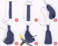 Easy step-by-step on how to make a tassel! See more on School of Handcraft! Easy step-by-step on how to make a tassel! See more on School of Handcraft! Diy Tassel, Tassel Jewelry, Tassle Earrings Diy, Feather Earrings, Diy Necklace, Pendant Necklace, Jewellery, Drops Design, How To Make Tassels