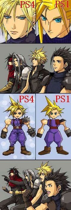 Vincent Valentine, Sephiroth, Cloud Strife and Zack Fair reacting to differences between FFVII original and the new PS4 remake XD