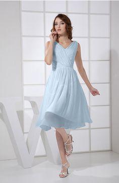 Teal Plain A-line V-neck Sleeveless Knee Length Ruching Club Dresses - iFitDress.com