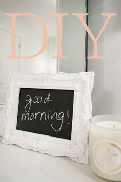 DIY ChalkBoard - chalkboard contac paper and a dollar store frame Diy Room Decor For Teens Easy, Diy Arts And Crafts, Fun Crafts, Framed Chalkboard, Chalkboard Ideas, Mini Chalkboards, Crafty Craft, Crafting, Diy Projects To Try