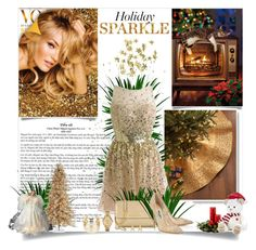 """""""Holiday Sparkle"""" by nathalia-s ❤ liked on Polyvore featuring H&M, Sudha Pennathur, Harrods, Michael Kors, Sterling, Kurt Adler, Jimmy Choo, Lacoste, Jennifer Meyer Jewelry and WithChic"""