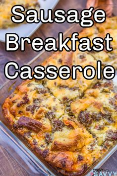 Make this sausage breakfast casserole this weekend for a great hearty breakfast before heading out for the days activities. This filling breakfast is packed full of protein and takes under an hour to make with no overnight prep. #sausagebreakfastcasserole #breakfastcasserole Egg And Cheese Casserole, Breakfast Casserole Sausage, Casserole Dishes, Casserole Recipes, Waffle Recipes, Brunch Recipes, Breakfast Recipes, Breakfast Ideas, Breakfast Dishes