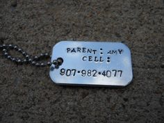 Children's Dog Tag- SAFETY Tag. This is hand stamped and can be personalized based on your kid's needs.  Great for going to crowded areas (add your phone number), summer camp (food allergies, illness), or just for fun!  www.etsy.com/shop/sassybrassycharms  www.facebook.com/sassybrassycharms