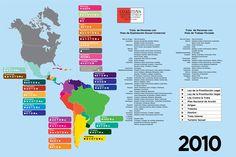 Infografía de la #TrataDePersonas en América, datos 2010 realizado por Coalition