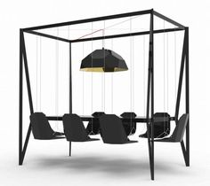 Dining Table With Swings For Chairs, how fun would that be! # Pin++ for Pinterest #