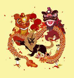 Lion dance Illustration Chinese Lion Dance, Chinese Art, Chinese Dragon, Lion Dance Costume, Lion Dragon, Chinese New Year Card, Chinese Festival, Dragon Dance, Tattoo Project