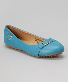 Love this Sky Blue Buckle-Accent Flat on #zulily! #zulilyfinds