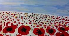 This week, Grade 3 painted these poppy landscapes in honour of Remembrance Day. They were inspired by a lesson I saw on Artsonia here . Remembrance Day Activities, Remembrance Day Poppy, Fall Art Projects, School Art Projects, School Ideas, Jr Art, Art Classroom, Classroom Ideas, Anzac Day