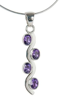 Gemstone Wave, Amethyst Purple Necklace