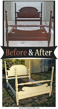Mahogany four poster bed painted, glazed and distressed in Off White with Tobacco Glaze - Before and After from Facelift Furniture's DIY Blog