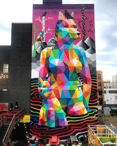 "Mural ""Rust Magic"" by artist Okuda in Edmonton, Canada ~. Grafitti Street, Street Wall Art, Best Street Art, Amazing Street Art, Okuda, Mural Art, Murals, Classic Paintings, Spanish Artists"