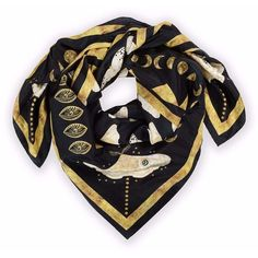 Louise Coleman - Gold Moth Silk Scarf (16,690 INR) ❤ liked on Polyvore featuring accessories, scarves, silk scarves, gold shawl, pure silk scarves, square silk scarves and silk shawl