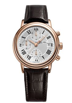 Maestro 7737-PC5-00659 Mens Watch - Maestro automatic chronograph Rose gold on leather strap | RAYMOND WEIL Genève Luxury Watches