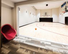 Home basketball court with slide