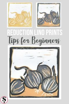 Easy three colour lino prints using one lino block and cutting away between inkings. Simple tips for beginners. #linoprint #crafttutorial