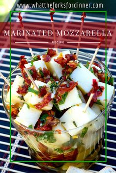 Marinated mozzarella. A pound block of mozzarella cheese, cut into cubes, then mixed with sundries tomatoes, garlic, and herb, then covered with olive oil and marinade. Remove from the fridge about an hour before eating.