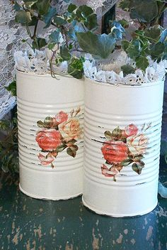 2 extra tall upcycled shabby chic white tin cans by sparkklejar, $19.00