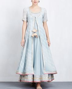 Sky Blue Leheriya Jacket with Anarkali Set Dress Indian Style, Indian Fashion Dresses, Indian Gowns, Indian Designer Outfits, Indian Attire, Pakistani Dresses, Indian Outfits, Designer Dresses, Kurta Designs Women